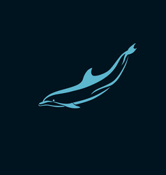 Dolphin swims underwater logo sign on dark vector