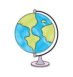 doodle circle global geography map desk vector image