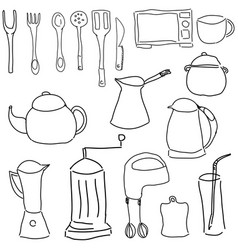drawn picture with kitchen stuff vector image