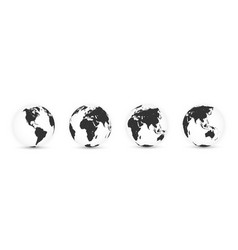Earth globe world map set planet with continents vector