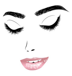 female face with closed eyes and pink lips vector image
