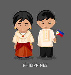 Filipinos in national dress with a flag vector