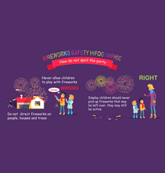 Fireworks safety infographic wrong and right vector