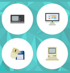 Flat icon computer set of display vintage vector