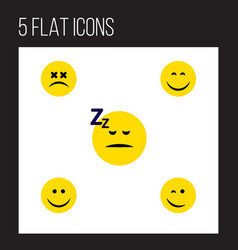 Flat icon emoji set of joy smile asleep and vector