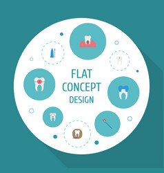 Flat icons decay hygiene toothbrush and other vector