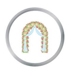 Floral wedding arch icon in cartoon style isolated vector