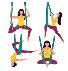 fly yoga woman performs asana in hammock vector image