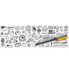 Fresh ingredients and foods doodle set vector