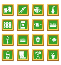 Gardening icons set green vector