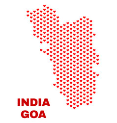 goa state map - mosaic of heart hearts vector image