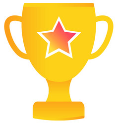 Gold trophy cup icon isolated on white vector
