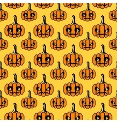 Halloween pattern with geometrical shape pumpkins vector image