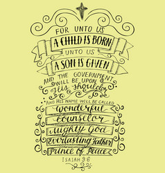 hand lettering for unto you a child is born vector image