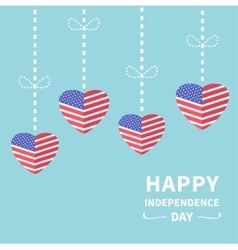Hanging heart flags star and strip happy vector