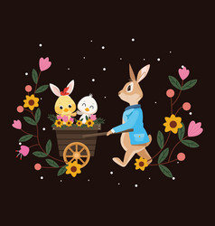 happy easter card with rabbit and little birds in vector image