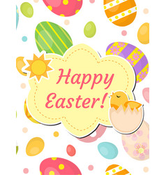 happy easter greeting card flyer poster vector image