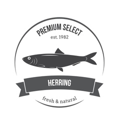 herring emblem label vector image