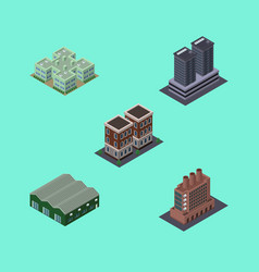 Isometric urban set of warehouse tower clinic vector