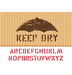 keep dry sign on cargo grunge cardboard box vector image