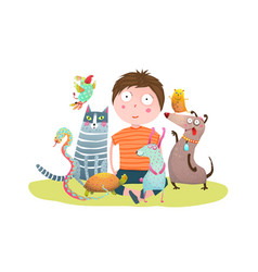 kid boy and pet shop vector image