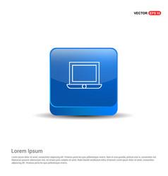 laptop icon - 3d blue button vector image