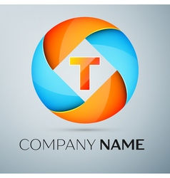 Letter T logo symbol in the colorful circle vector