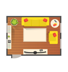 Living room modern interior top view detailed vector