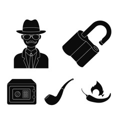Lock hacked safe smoking pipe private detective vector