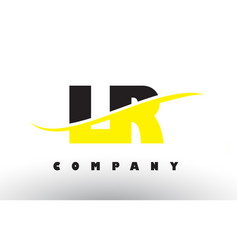 Lr l r black and yellow letter logo with swoosh vector