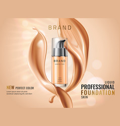 luxury liquid foundation ads glass transparent vector image