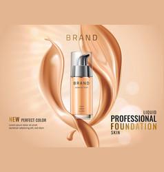 luxury liquid foundation ads glass transparent vector image