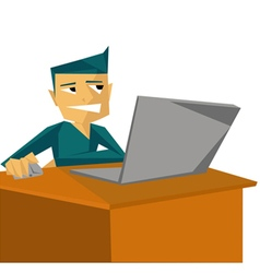 Man working with laptop on table vector