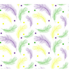 Mardi gras seamless pattern with feathers purple vector