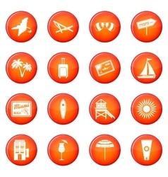 Miami icons set vector