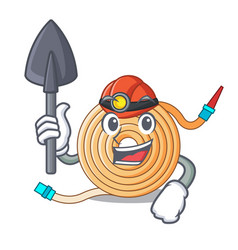 Miner water hose to extinguish the fire vector
