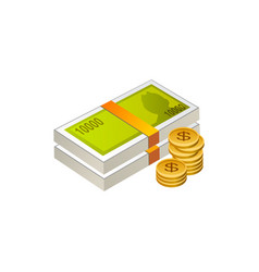 Money cash and coins isolated on vector