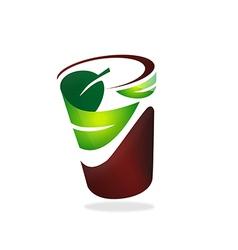 natural leaf cup friendly logo vector image