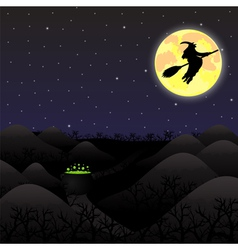 Night landscape under a full moon on Halloween vector