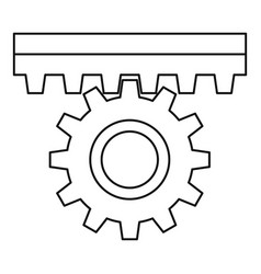 One gear icon outline style vector