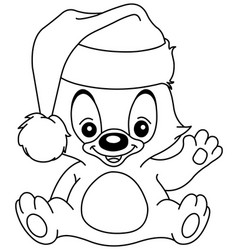 Outlined christmas waving teddy bear vector