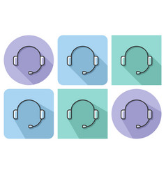 outlined icon of headphones with parallel and not vector image