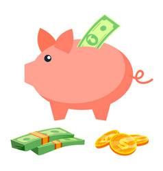 Piggy bank coins bills deposit icon vector