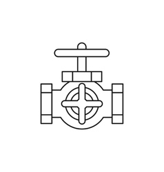 Pipe with a valves icon outline style vector