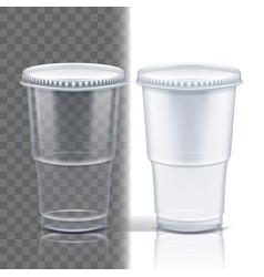 plastic cup transparent empty disposable vector image