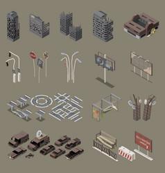 Post apocalypse city isometric set vector