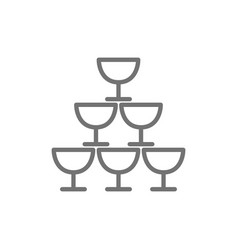 pyramid glass goblets line icon vector image