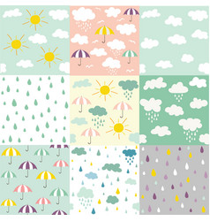 rain and clouds seamless patterns vector image