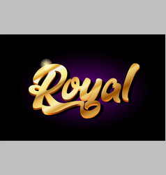 Royal 3d gold golden text metal logo icon design vector