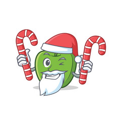 Santa with candy green apple character cartoon vector